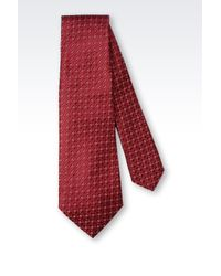 Armani - Red Micropatterned Silk Tie for Men - Lyst