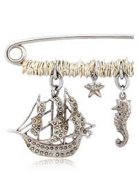 Maria Zureta - Metallic Marine Sterling Silver Safety Pin - Lyst