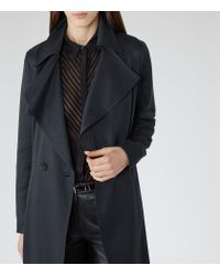Reiss - Blue Radzi Relaxed Trench Coat - Lyst