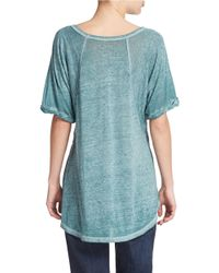 Free People | Green V-Neck Tee | Lyst
