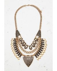 Forever 21 | Metallic Etched Triangle Statement Necklace | Lyst