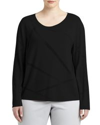 Lafayette 148 New York - Black Long-sleeve Mosaic Intarsia Sweater - Lyst