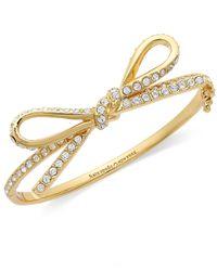 kate spade new york - Metallic New York Bracelet Gold-tone Pave Skinny Mini Bow Bangle Bracelet - Lyst