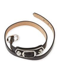 Balenciaga | Black Classic Leather Wrap Bracelet | Lyst