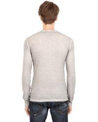 DSquared² - Gray Long Sleeve Cotton Linen Tshirt for Men - Lyst