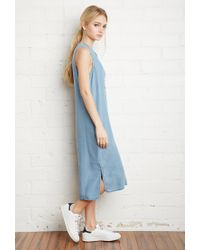 Forever 21 | Blue Chambray Midi Dress | Lyst