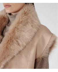 Reiss - Pink Lexi Reversible Shearling Gilet - Lyst
