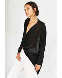 Silence + Noise | Black Natalie Surplice Top | Lyst