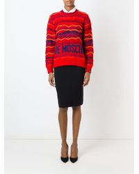 Love Moschino - Red Intarsia Logo Print Sweater - Lyst