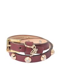 DSquared² | Purple Shiny Studs Double Wrap Bracelet | Lyst