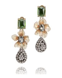 Tory Burch | Green Emerald Stone Diamanté Tear Drop Earring | Lyst