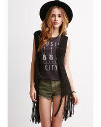 Forever 21 | Black Open-knit Fringe Vest | Lyst