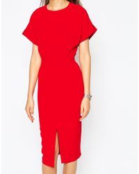 ASOS | Red Split Front Dress With Wrap Back | Lyst