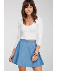 Forever 21 - Blue Denim Skater Skirt - Lyst