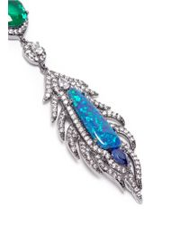 CZ by Kenneth Jay Lane | Blue Cubic Zirconia Opal Feather Earrings | Lyst