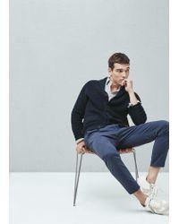 Mango - Blue Shawl Collar Cotton Cardigan for Men - Lyst