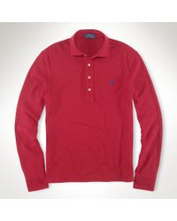 Polo Ralph Lauren - Red Estate Long-sleeved Mesh Polo for Men - Lyst