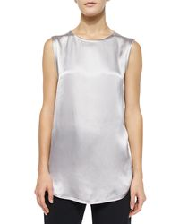 Vince | White Relaxed Satin Top | Lyst