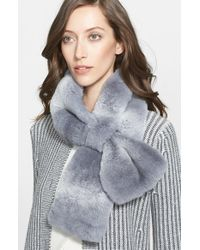 St. John - Gray Stripe Genuine Rabbit Fur Muffler - Lyst
