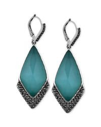Judith Jack - Green Sterling Silver Mint Glass 24 Ct Tw and Marcasite 1 Ct Tw Drop Earrings - Lyst