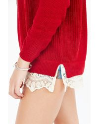 Pins And Needles - Red Lace-trim Sweater - Lyst