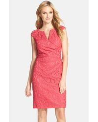 Adrianna Papell | Red Lace Sheath Dress | Lyst
