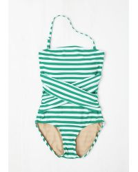 Downeast Basics - Green Down For A Dip One-Piece Swimsuit In Peacock - Lyst