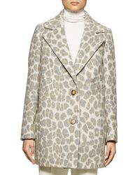 Stella McCartney - Gray Leopard-print Double-button Coat - Lyst