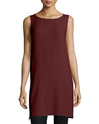 Eileen Fisher - Brown Georgette Crepe Long Shell - Lyst