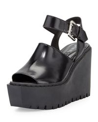 Opening Ceremony - Black Luna Buckled-Leather Wedges - Lyst