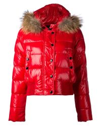 Moncler - Red Padded Hood Jacket - Lyst