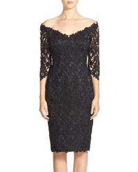Helen Morley - Black Off The Shoulder Guipure Lace Cocktail Sheath Dress - Lyst
