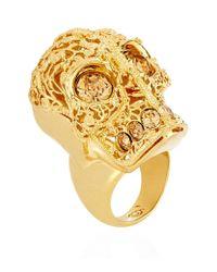 Alexander McQueen | Metallic Filigree Topaz Skull Ring | Lyst
