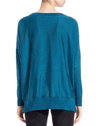 Eileen Fisher - Green Merino Wool Ballet-neck Sweater - Lyst