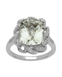 Lord & Taylor | Metallic Sterling Silver Green Amethyst And Diamond Ring | Lyst