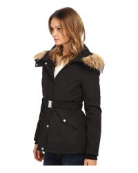 Jessica Simpson - Black Belted Polybonded With Faux Fur - Lyst