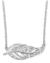 Macy's - Metallic Diamond Feather Pendant Necklace In Sterling Silver (1/10 Ct. T.w.) - Lyst
