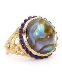 Elizabeth Showers - Purple Tree Of Life White Quartz/abalone Ring - Lyst