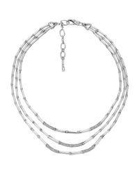John Hardy | Metallic Bamboo Silver Three-row Diamond Necklace | Lyst