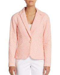 Carolina Herrera - Pink One-button Tweed Blazer - Lyst