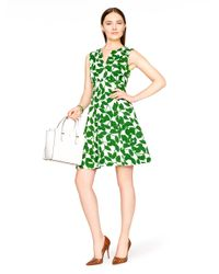 kate spade new york | Green Garden Leaves Pique A-line Dress | Lyst
