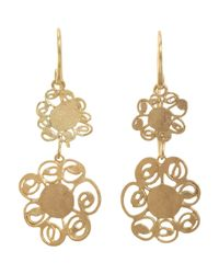 Judy Geib | Metallic Women's Gold Double Flower Drop Earrings | Lyst