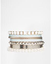Oasis - Green Enamel & Mesh Multipack Bracelet - Lyst
