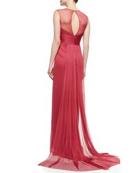 Pamella Roland | Pink Gathered Keyhole-back Tulle Gown | Lyst