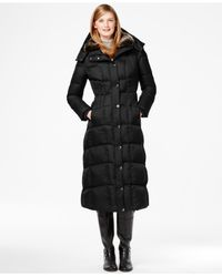 London Fog - Black Faux-fur-trim Quilted Down Maxi Coat - Lyst