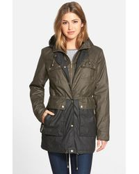 MICHAEL Michael Kors - Black Two Tone Waxed Cotton Anorak - Lyst