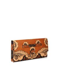 Valentino - Brown Floral-Print Leather Clutch - Lyst