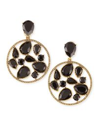 Oscar de la Renta - Black Round Multi-stone Clip-on Earrings - Lyst
