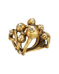 Oscar de la Renta - Metallic Ball And Crystal Ring - Lyst