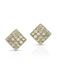 Anne Sisteron | 14kt Yellow Gold Diamond Mini Square Stud Earrings | Lyst